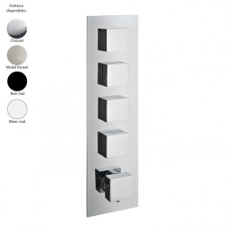 Mitigeur thermostatique douche encastré 4 sorties, design carré de Treemme, 4 finitions