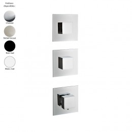 Mitigeur thermostatique douche encastré 2 sorties, 3 trous, design carré de Treemme, 4 finitions