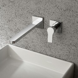 Mitigeur lavabo mural 2 trous design XERO, saillie 22 cm, 4 finitions
