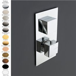 Mitigeur thermostatique douche encastré 2 sorties, inverseur manuel, design carré de Treemme, 4 finitions