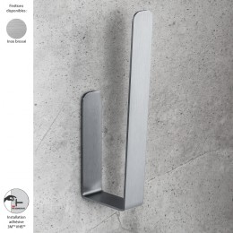 Réserve papier WC murale design OVER de Colombo Design, fixation sans vis, inox brossé