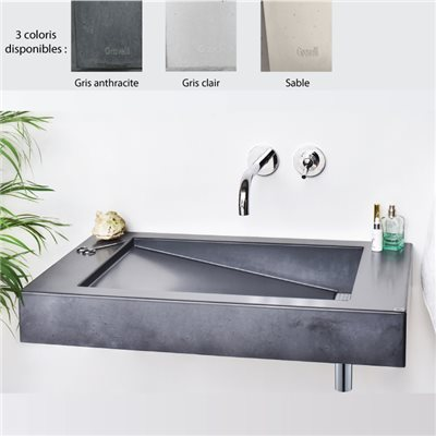 Lavabo suspendu 70x45 cm design SLANT 03 SINGLE, 0-3 trous, béton poli 3 coloris