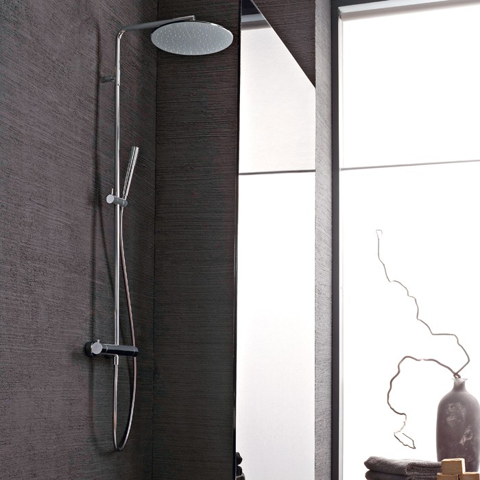 colonne de douche thermostatique design avec pommeau de 30 cm treemme. Black Bedroom Furniture Sets. Home Design Ideas