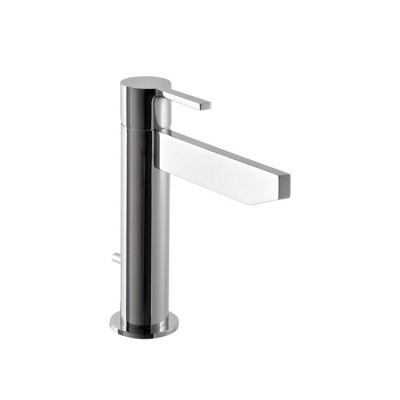 Mitigeur lavabo design TIME_out, bec biseauté haut 12 cm, saillie 14 cm, 4 finitions + bonde tirette