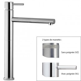 Mitigeur vasque haut design VELA de Treemme, saillie 18 cm, 2 finitions_Chromé_D1