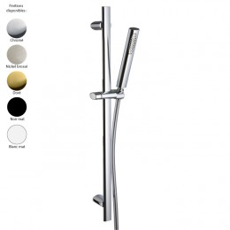 Set de douche design HEDO : barre de douche et douchette, laiton 5 finitions + flexible