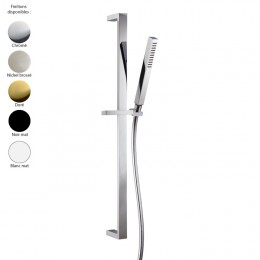 Set de douche design carré de Treemme : barre de douche et douchette, laiton 5 finitions + flexible