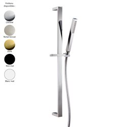 Set de douche design carré : barre de douche et douchette, laiton 5 finitions + flexible